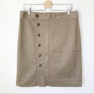 J.CREW Side-Button Down Pencil Skirt Stretch Chino